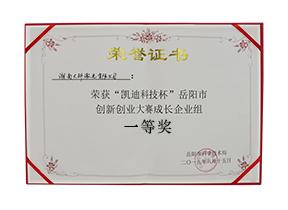 """""""凯迪科技杯""""岳阳市创新创业大赛成长企业组一等奖"""